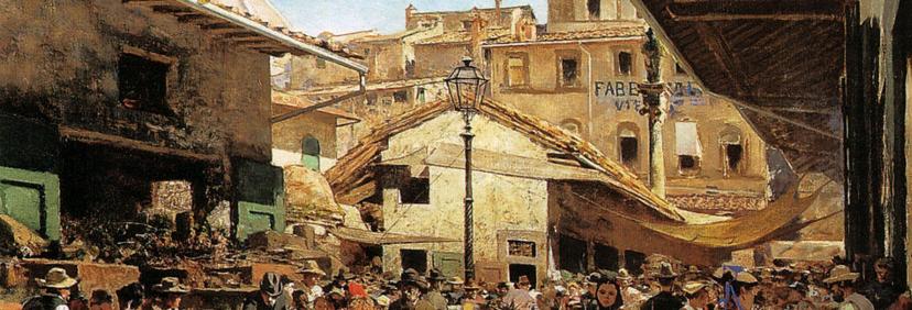 Mercati di Toscana, Mercato vecchio di Firenze, particolare da tela di Telemaco Signorini